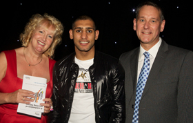 Chris and David Travis with Amir Khan at the Bolton Sports Awards 2010