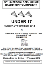 24th Liverpool Open Junior Badminton Tournament