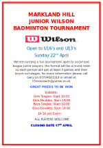 Markland Hill Junior Badminton Tournament 2012